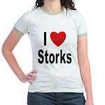 I Love Storks (Front) Jr. Ringer T-Shirt