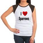 I Love Sparrows (Front) Women's Cap Sleeve T-Shirt