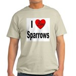 I Love Sparrows (Front) Ash Grey T-Shirt