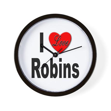 I Love Robins Wall Clock