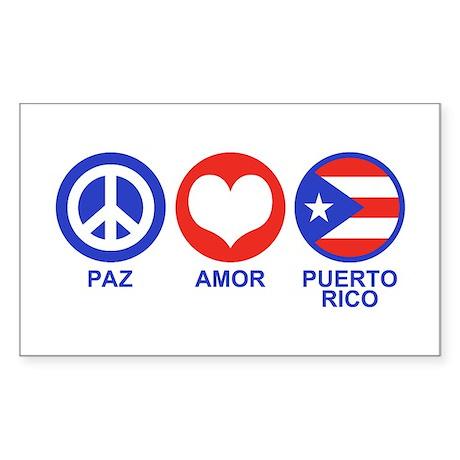 Paz Amor Puerto Rico Sticker (Rectangle)