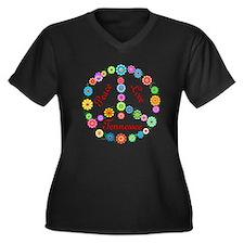 Peace Love Tennessee Women's Plus Size V-Neck Dark