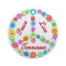 Peace Love Tennessee Ornament (Round)