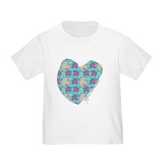 Light Aqua Maple Leaf Heart T