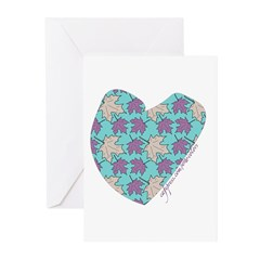 Light Aqua Maple Leaf Heart Greeting Cards (Packag
