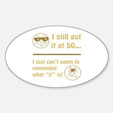 Funny Faces 50th Birthday Sticker (Oval)