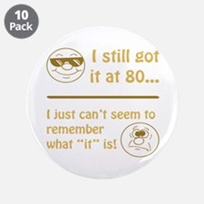 "Funny Faces 80th Birthday 3.5"" Button (10 pack)"