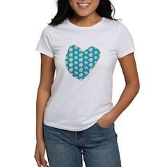Teal Maple Leaves Women's T-Shirt