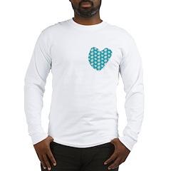 Teal Maple Leaves Long Sleeve T-Shirt