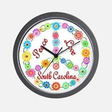 Peace Love South Carolina Wall Clock