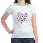 White Maple Leaf Heart Jr. Ringer T-Shirt