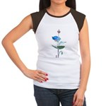 Blue Poppy Drawing Women's Cap Sleeve T-Shirt
