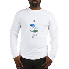 Blue Poppy Drawing Long Sleeve T-Shirt