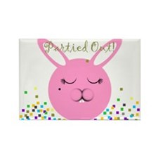 Partied Out Bunny Rectangle Magnet