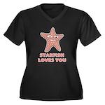 Starfish Women's Plus Size V-Neck Dark T-Shirt