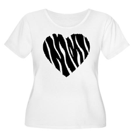 Zebra Fur Heart Women's Plus Size Scoop Neck T-Shi