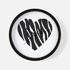 Zebra Fur Heart Wall Clock