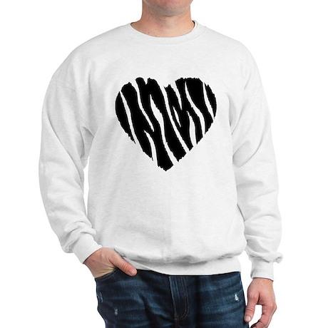 Zebra Fur Heart Sweatshirt
