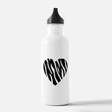 Zebra Fur Heart Water Bottle