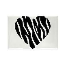 Zebra Fur Heart Rectangle Magnet (100 pack)