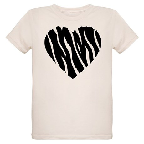 Zebra Fur Heart Organic Kids T-Shirt