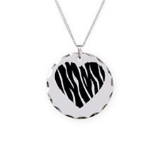 Zebra Fur Heart Necklace