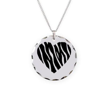 Zebra Fur Heart Necklace Circle Charm