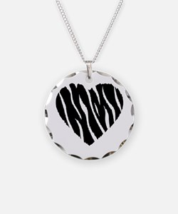 Zebra Fur Heart Necklace Circle Charm