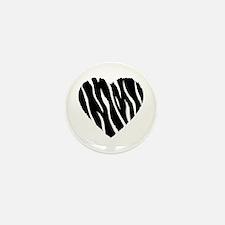 Zebra Fur Heart Mini Button (10 pack)