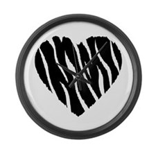 Zebra Fur Heart Large Wall Clock