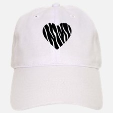Zebra Fur Heart Baseball Baseball Cap