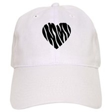 Zebra Fur Heart Baseball Cap