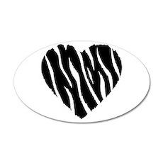 Zebra Fur Heart 22x14 Oval Wall Peel