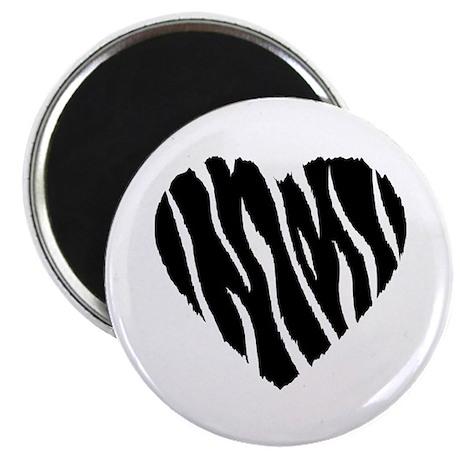 """Zebra Fur Heart 2.25"""" Magnet (100 pack)"""