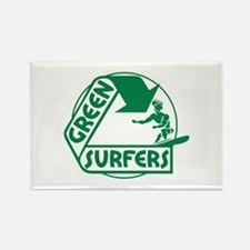 Green Surfers Rectangle Magnet