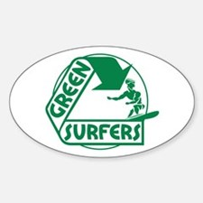 Green Surfers Oval Decal