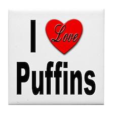 I Love Puffins Tile Coaster