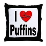 I Love Puffins Throw Pillow