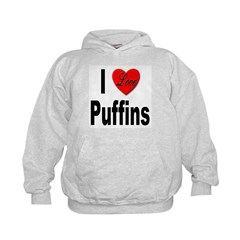 I Love Puffins (Front) Hoodie