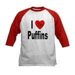 I Love Puffins (Front) Kids Baseball Jersey
