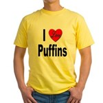 I Love Puffins Yellow T-Shirt