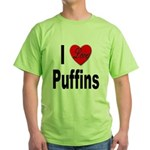 I Love Puffins (Front) Green T-Shirt