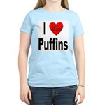 I Love Puffins (Front) Women's Pink T-Shirt