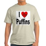 I Love Puffins (Front) Ash Grey T-Shirt