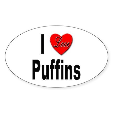 I Love Puffins Oval Sticker