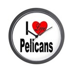 I Love Pelicans Wall Clock
