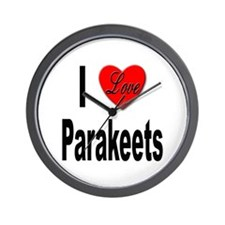I Love Parakeets Wall Clock