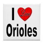 I Love Orioles Tile Coaster