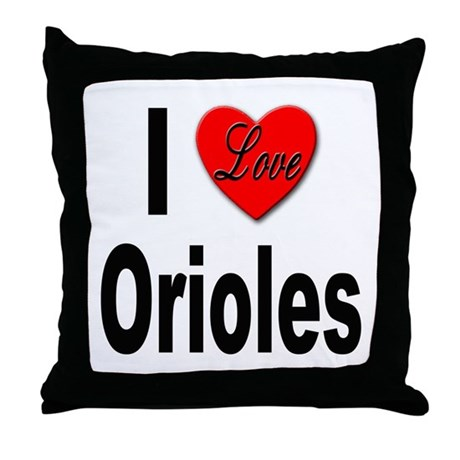 I Love Orioles Throw Pillow