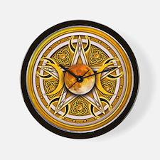 Yellow Triple Goddess Pentacle Wall Clock
